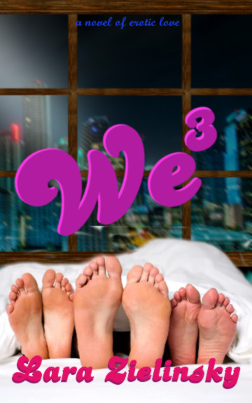 cover for We Three book; three pairs of feet under bedcovers with a window above