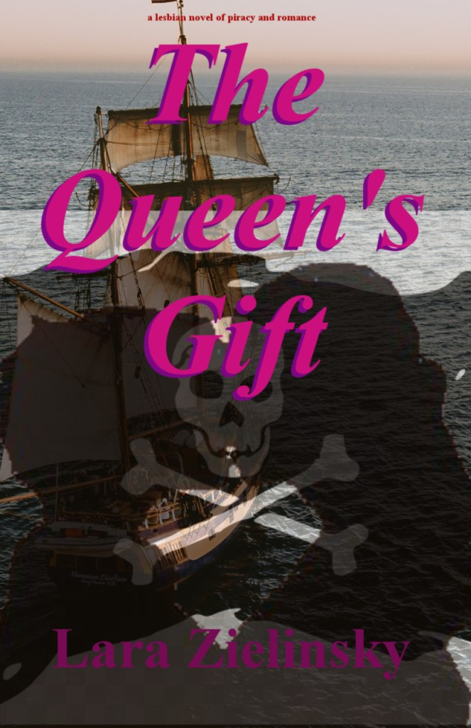 The Queen's Gift book cover: two silhouetted women kissing in front a pirate ship on the high seas backdrop